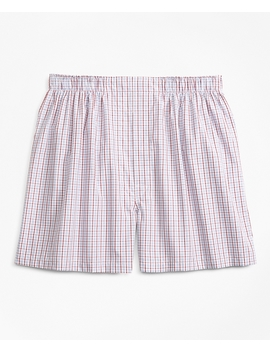 Traditional Fit Alternating Check Boxers by Brooks Brothers