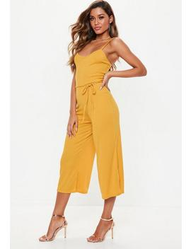 Mustard Rib Culotte Jumpsuit by Missguided