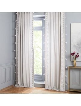 Embroidered Border Curtain   Frost Gray by West Elm