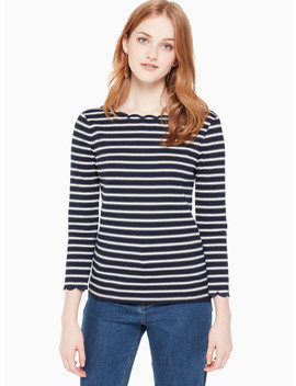 Stripe Scallop Knit Top by Kate Spade