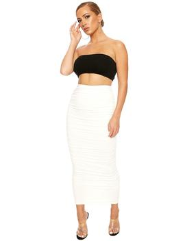 Issa Ruched Thing Midi Skirt by Naked Wardrobe