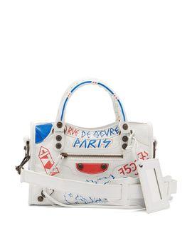Women's White Classic City Mini Graffiti Printed Leather Bag by Balenciaga