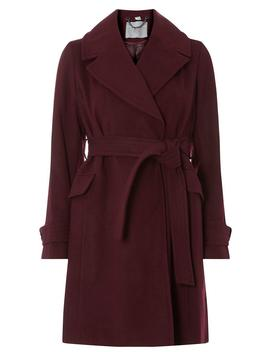 Petite Burgundy Wrap Coat by Dorothy Perkins
