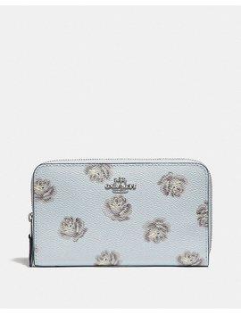 Medium Zip Around Wallet With Rose Print by Coach