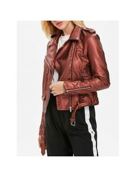 "<P>Faux Leather Oblique Zipper Biker Jacket</P><I Class=""Icon Down Js Tap Up Down""></I> by Dress Lily"