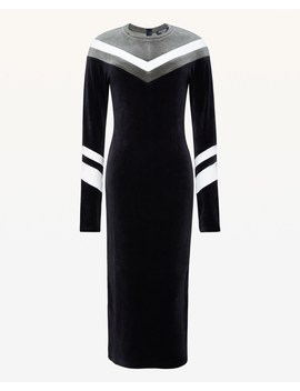 Colorblock Chevron Stretch Velour Dress by Juicy Couture