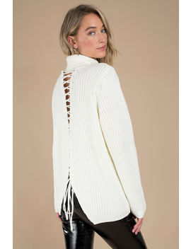 Turn Around White Cutout Turtleneck Sweater by Tobi