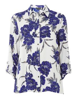Grey Floral Print Roll Sleeve Top by Dorothy Perkins