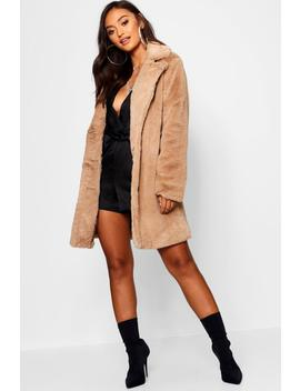 Petite Collared Faux Fur Coat by Boohoo