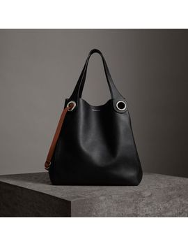 The Large Leather Grommet Detail Tote by Burberry