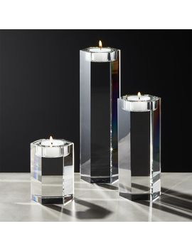 Hex Crystal Tea Light Candle Holders Set Of 3 by Crate&Barrel