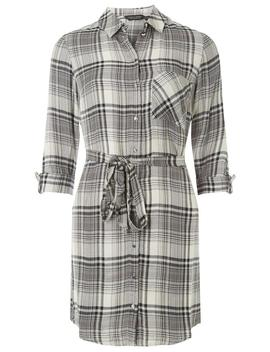 Grey Checked Shirt Dress by Dorothy Perkins