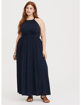 Navy High Neck Jersey Maxi Dress by Torrid