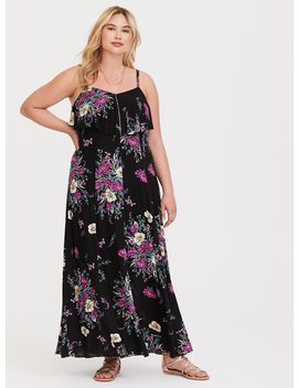 Black Floral Fluted Maxi Dress by Torrid