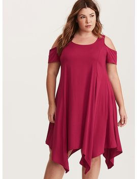 Red Challis Cold Shoulder Trapeze Dress by Torrid