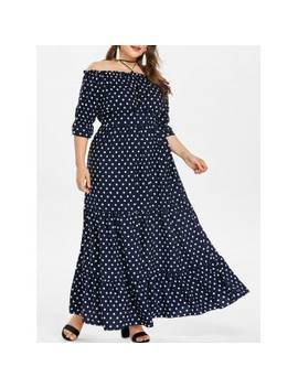 "<P>Plus Size Polka Dot Floor Length Dress</P><I Class=""Icon Down Js Tap Up Down""></I> by Dress Lily"
