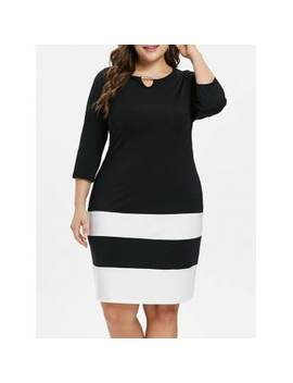 "<P>Plus Size Striped Color Block Dress</P><I Class=""Icon Down Js Tap Up Down""></I> by Dress Lily"