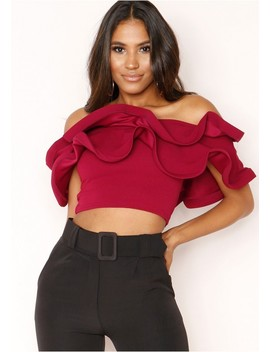 Milly Wine Frill Layered Crop Top by Missy Empire