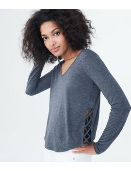 Lld Long Sleeve Lattice Side Tee by Aeropostale