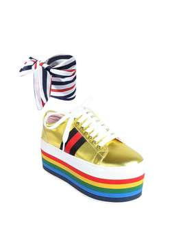 Holle Lace Up Striped Platform Sneakers by Jessica Buurman