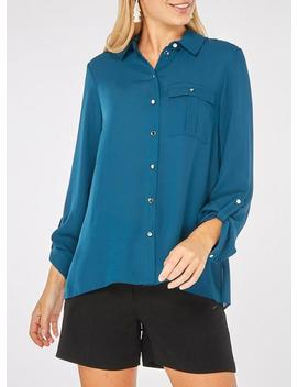 Teal Pocket Roll Sleeve Shirt by Dorothy Perkins