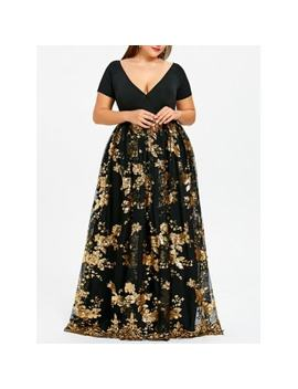 "<P>Plus Size Sequined Floral Maxi Formal Dress</P><I Class=""Icon Down Js Tap Up Down""></I> by Dress Lily"