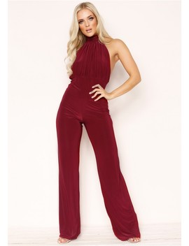 Alexandra Wine High Neck Jumpsuit by Missy Empire