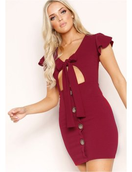 Addie Wine Tie Button Dress by Missy Empire