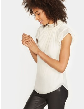Flutter Sleeve Smocked High Neck Top by Halston