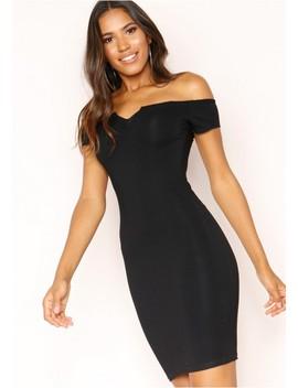 Samera Black Bardot V Dress by Missy Empire