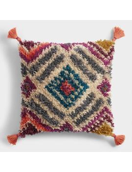 Multicolor Diamond Shag Throw Pillow by World Market