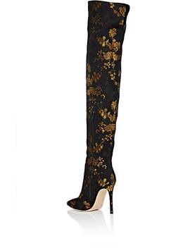 Rennes Kyoto Floral Print Jacquard Satin Cuissard Boots by Gianvito Rossi