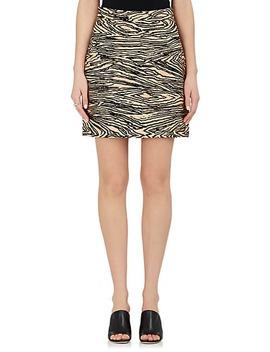 Wood Grain Motif Faille Miniskirt by Proenza Schouler