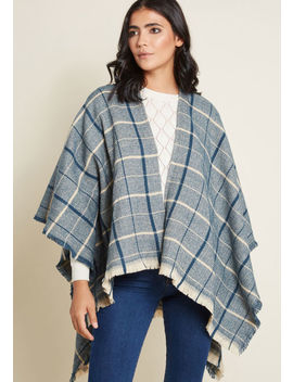 Thanks For Cabin Me Plaid Shawl In Navy by Modcloth