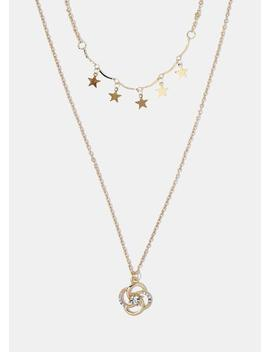 Star & Flower Pendant Necklace by Miss A
