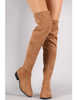 Tan Over The Knee Boots by Natasha Couture Fashion, Atlanta