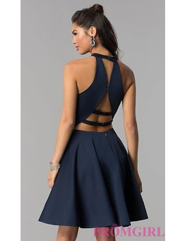 High Neck Short Homecoming Dress By Dave And Johnny by Dave And Johnny