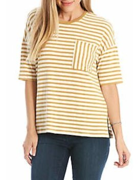 Oversized Striped Pocket Tee by Eyeshadow