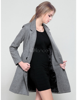 Grey Pea Coat Notch Collar Long Sleeve Double Breasted Slim Fit Wool Outerwear For Women by Milanoo