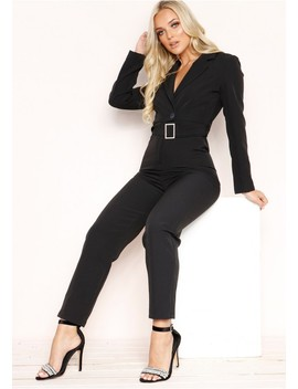 Luz Black Belted Jumpsuit by Missy Empire
