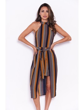 Mustard Aztec Print Midi Dress by Ax Paris
