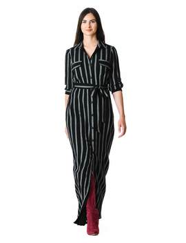 Stripe Print Cotton Maxi Shirtdress by Eshakti