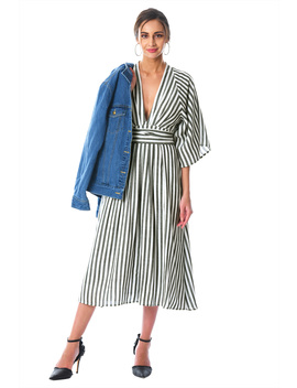 Plunge Stripe Tencel Sash Dress by Eshakti