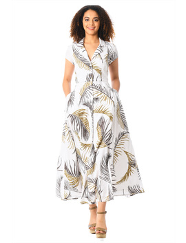 Palm Print Crepe Maxi Shirt Dress by Eshakti