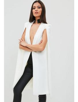 White Longline Cape Blazer by Missguided