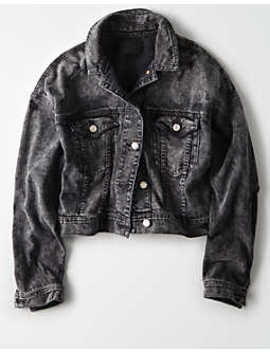 Ae Denim Jacket Acid Wash by American Eagle Outfitters