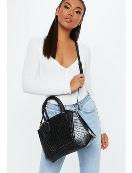 Black Croc Style Bag by Missguided
