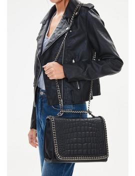 Black Faux Leather Croc Print Chain Cross Body Bag by Missguided