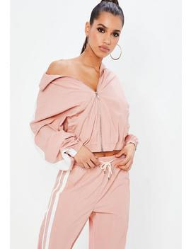 Pink Shell Side Track Top Jacket by Missguided