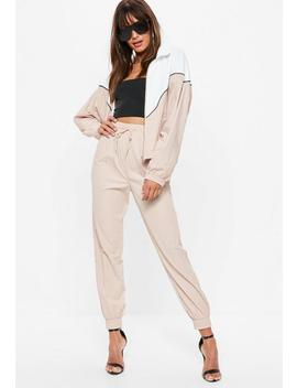 Nude Shell Suit Trousers by Missguided